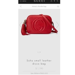 Soho small red leather GUCCI bag
